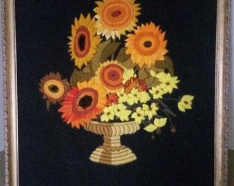 Vintage Floral Yarn Wall Hanging