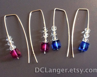 Swarovski Crystal Earrings. Choice of Sapphire Cubes w/ bicones, Fuchsia Cubes with bicones, All clear bicones.