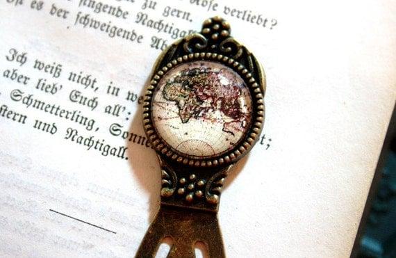 Vintage World Map Bookmark bronzecolored Globetrotter Antique Globe Map