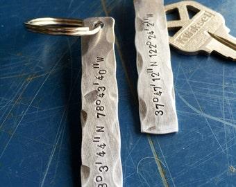 Lattitude Longitude Keychain, GPS coordinates, metal, hand-stamped