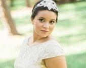 Wedding headpiece, tiara, Bridal headband, wedding hair, beaded headband - AGATHA