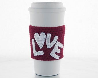 coffee cozy, cup sleeve, red sleeve, white letters, white heart, Valentine's day gift, i love you, love is in the air, valentine, crochet
