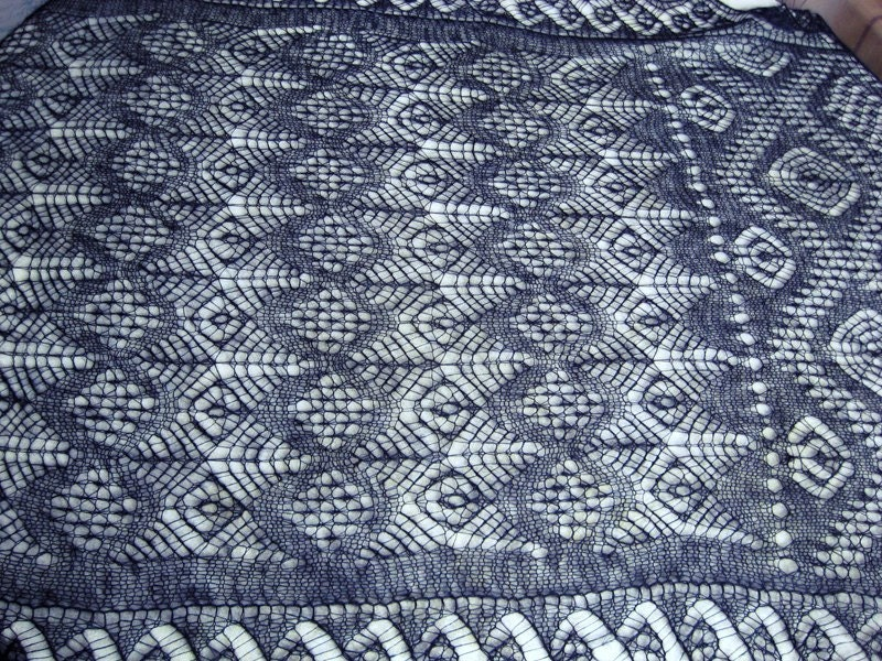 Knitting Pattern For Shetland Lace Shawl : Hand knitted mohair and silk navy shetland lace stole. Knitted