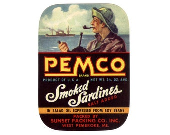 2 Pemco Smoked Sardines labels