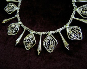 Vintage Hobe Fringe Necklace Silver Tone Filigree Leaves Spikes Modernist
