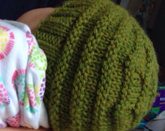 Fennel Green Baby Hat and Thumbless Mitten Set, 0-3 months, Machine washable