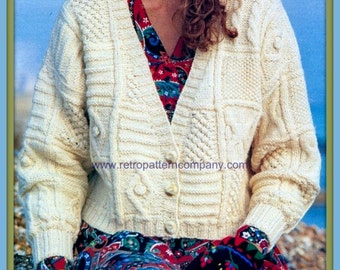 PDF Knitting Pattern - Ladies Aran Patchwork Cardigan & Sweater  - Instant Download