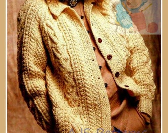 PDF Knitting Pattern - Ladies Traditional Cabled Aran Jacket or Cardigan - Instant Download