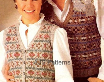 PDF Knitting Pattern His & Hers Fair Isle/Nordic Waistcoat and Pullover - Instant Download