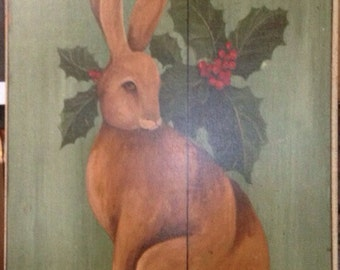 Hare and Holly tavern wooden print