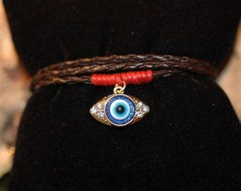 SALE - Evil Eye, Wrap Evil Eye Bracelet, Wrap Bracelet, Brown faux Leather Wrap with dangled Evil Eye, Gift for her, Dangle bracelet