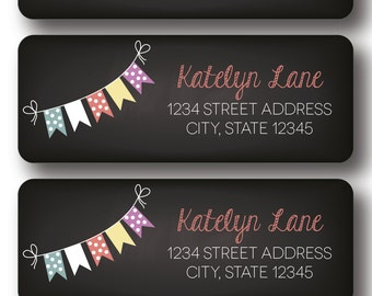 Chalkboard Bunting Return Address Labels