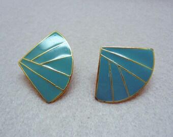 Turquoise Enamel Vintage Clip On Earrings