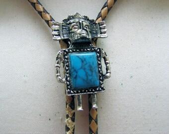 1980s Fancy Faux Turquoise  Kachina  Bolo Tie