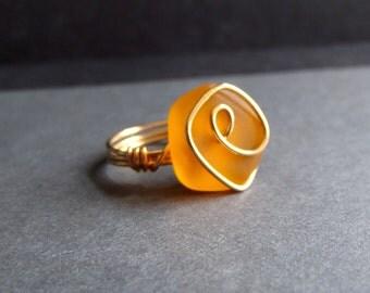 Pumpkin Orange Sea Glass Ring:  24K Gold Wire Wrapped Tangerine Tango Autumn Beach Jewelry, Size 6