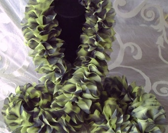 Scarf Ruffled Boa Abstract Print Black Chartreuse Green