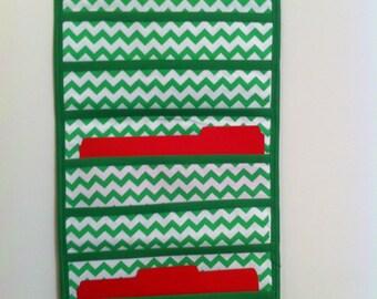 Chevron inspired green on green hanging holder / organizer.