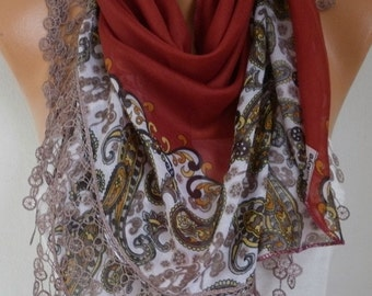 Burnt Orange Paisley Scarf Teacher Gift Fall Cotton Oversize Scarf Necklace Cowl Scarf Gift Ideas for Her  Women Fashion Accessories