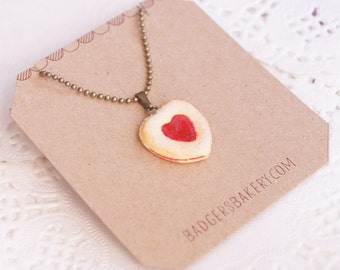 HEART Linzer COOKIE necklace - cute pendant - sugar sprinkled cookie