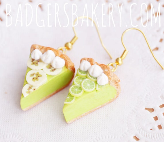 LIME PIE earrings - lime or banana slices and whipped cream - miniature food jewelry