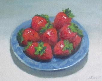 """Sale Strawberries Kitchen Still Life Original Oil Painting Santa Barbara Art Modern Impressionist Painting Jennifer Boswell 8x10"""""""