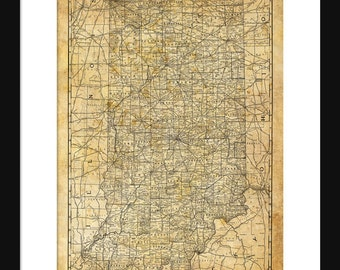 Indiana State Map Vintage Print Poster Grunge