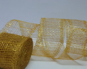 Abaca Ribbon, Yellow with Gold Thread, Sinamay Ribbon Glitter