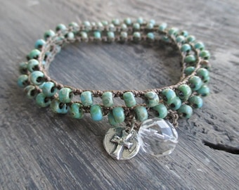 Rustic turquoise Crochet wrap bracelet necklace - Old FaithFul - sterling silver cross blue green rustic spiritual boho by slashKnots