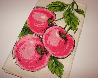 Vintage Tea Towel, Parisian Prints Cherries, Linen Kitchen Dish Towel, Unused, 1960s
