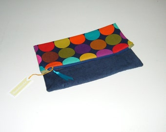 Colorful Dots Foldover Clutch - Gift for Her - Gift Under 25