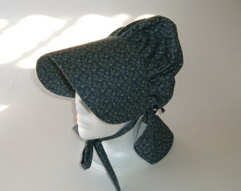 Sunbonnet for Girls - Pioneer Sunbonnet - Dark Blue Bonnet - Gift for Girls