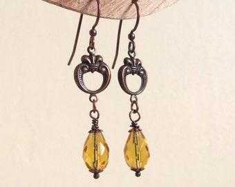 Fire topaze copper earrings - stempunk christmas gift for her