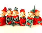 Vintage Pixie Knee Hugger Elves, Set of 6 (c.1950s) - Collectible, Retro Christmas Home Decor