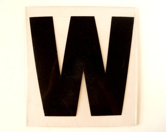 "Vintage Industrial Marquee Sign Letter ""W"", Black on Clear Thick Acrylic (7 inches tall) - Industrial Decor, Altered Art Assemblage Supply"