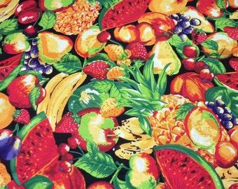 Fruit Fabric Lot Of Watermelon Pears Strawberries Grapes Bright Colors Fat Quarter New BTFQ