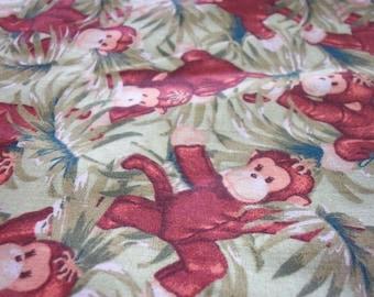 Fabric monkey etsy for Baby monkey fabric prints