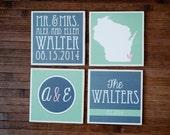 4 Custom Wedding Tile Coasters Gift