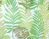 Vintage Wallpaper by the Yard 70s Retro Wallpaper - 1970s Mylar Green Fern Fronds on White with Little Flowers