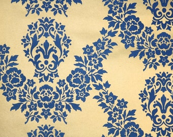 Retro Flock Wallpaper by the Yard 70s Vintage Flock Wallpaper - 1970s Blue Floral Flock on Metallic Gold