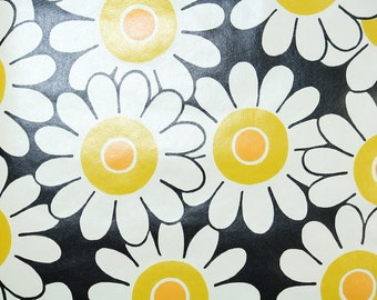 Retro Wallpaper by the Yard 70s Vintage Wallpaper - 1970s Yellow and White Daisies on Black