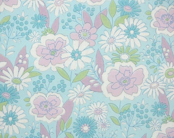 Retro Wallpaper by the Yard 70s Vintage Wallpaper - 1970s Lavender White and Aqua Blue Mod Floral