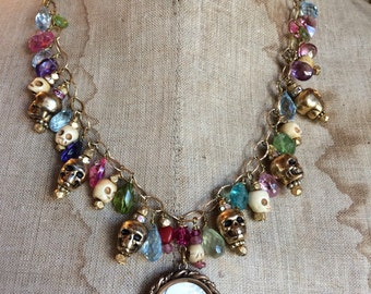 One of a kind semi precious stone necklace loaded with skull beads victorian pendant