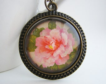 Camellia Antiqued Pendant with Free Necklace