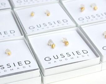 Gold Dipped Quartz Earrings, Minimalist Earrings, Quartz Earrings, Crystal Earrings, Quartz Jewelry, Crystal Jewelry, Healing Jewelry