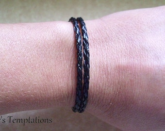 Double Wrap Leather Bracelet - Black or Color Choice Braided Multi Wrap Awareness Stacking Leather Bracelets Unisex Leather Bracelets