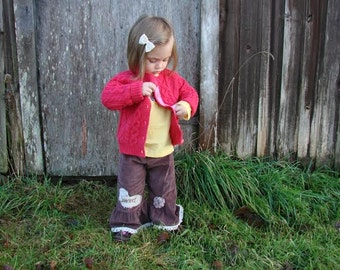 MADE to ORDER, custom, corduroy pants, hand dyed, brown, upcycle,toddler pants, boho rustic child, 2T, child winter