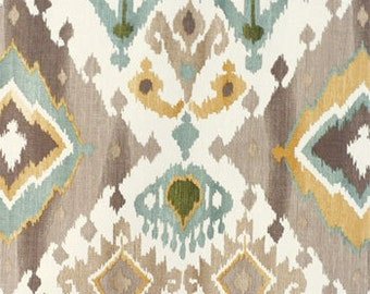 Custom Curtains or Drapes, any size available, Alessandro Glacier  ikat print in  tan, turquoise, gold, and green