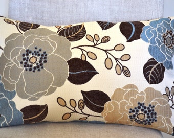 Decorative Throw Pillow 14x22 inch, floral pillow, Holiday Decorative Accent Pillows in blue, tan grey natural, pillow cover great gift
