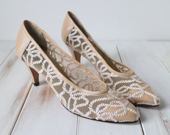 SIZE 8 N Vintage Sesto Meucci of Florence Taupe Embroidered Mesh Pointy Heeled Shoes NOS