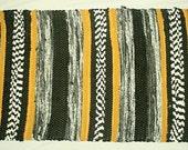 handwoven rug, bath mat, carpet, rug, bathroom rug, kitchen mat, black and gold rug, door mat, meditation mat, throw rug